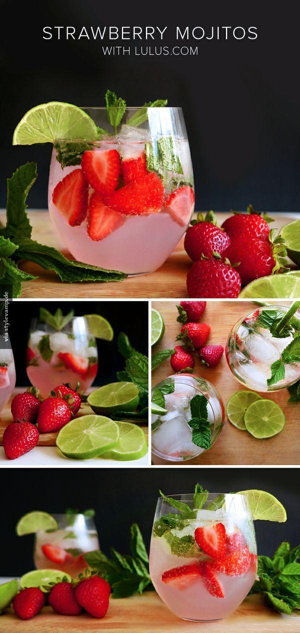 strawberry mojitos cheers pinterest getr nke trinken und cocktail rezepte. Black Bedroom Furniture Sets. Home Design Ideas