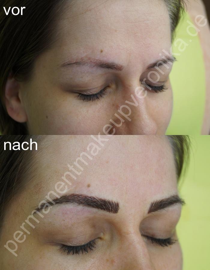 Tätowierung mit Permanent Make-ups Augenbrauen-Härchenlinien