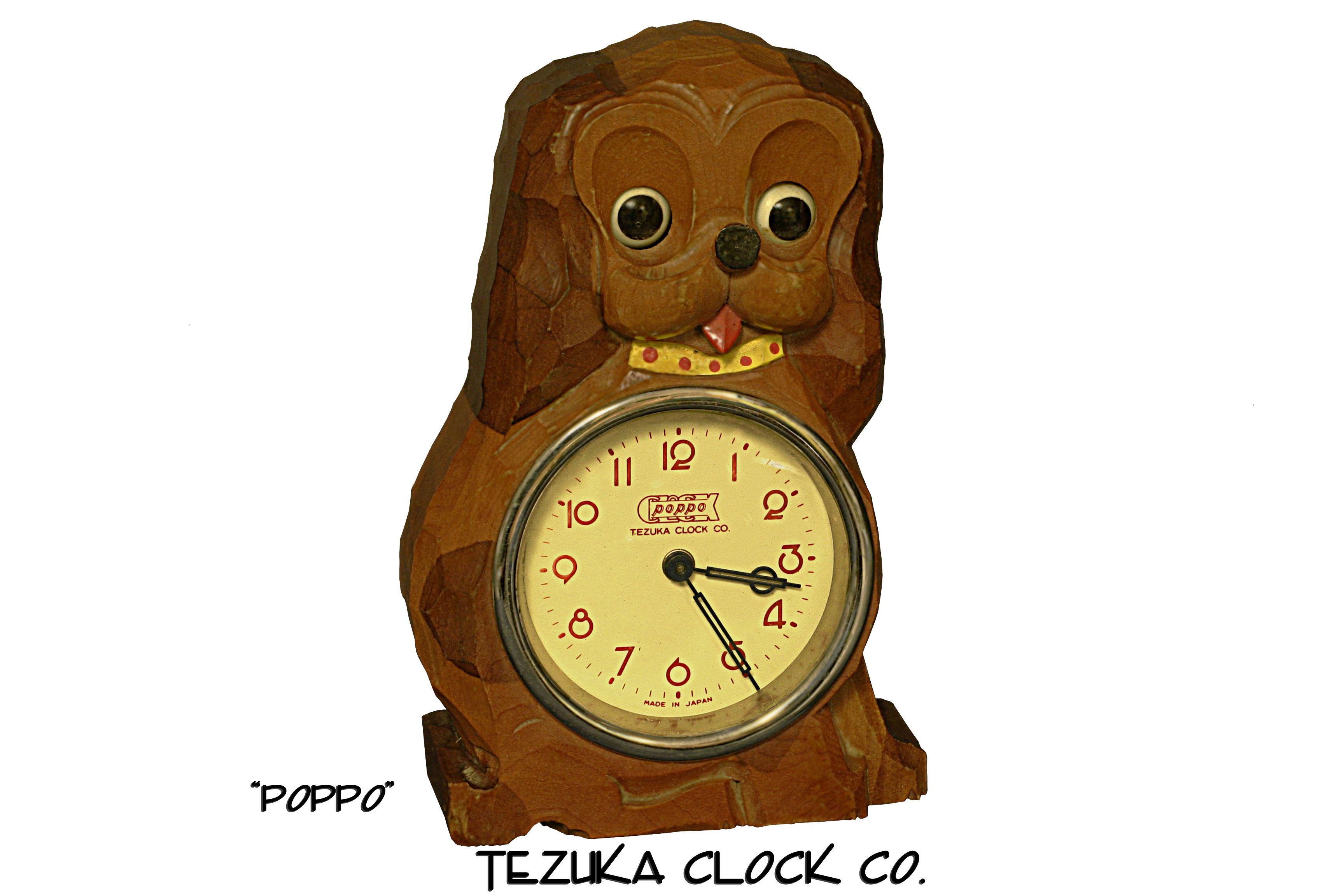 "Clock Meiko Tokei Poppo2"" Carved wood dog with moving"