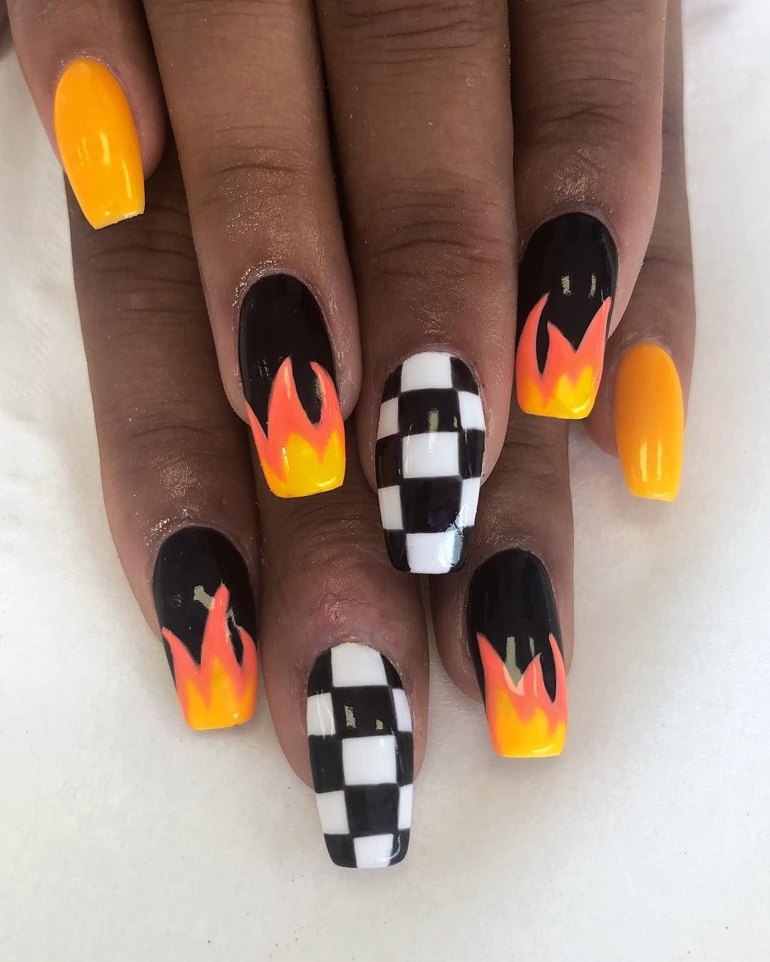 Full Set Of Acrylics With Nail Art Link In Bio To Book Nails Nailart Nailsofinstagram Acrylic Acrylicnails Checkered Nails Flame Nail Art Fire Nails