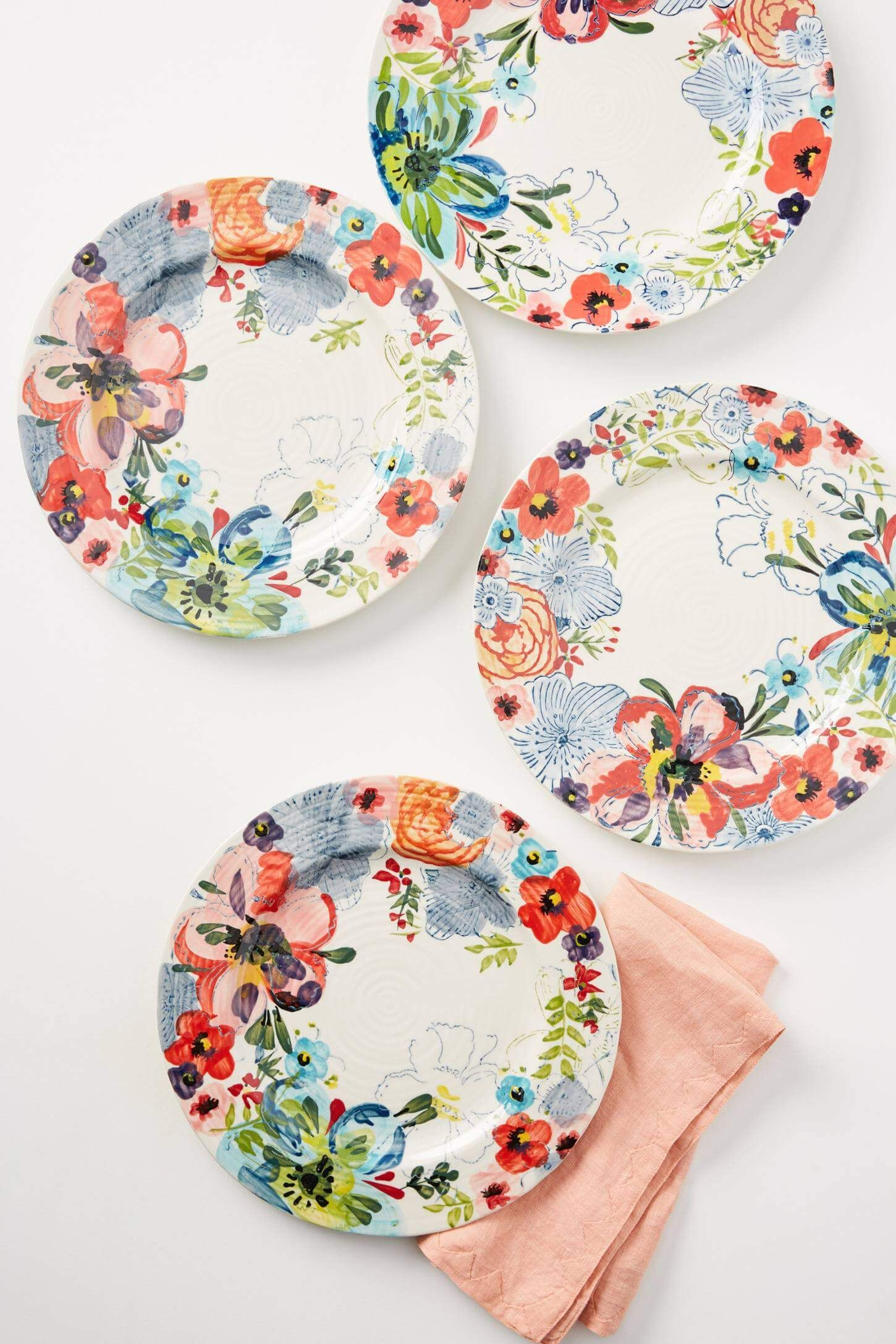Thanksgiving Dinnerware Floral Ceramic Dinner Plates From Anthropologie Nonagon Style Dinner Plates Dinnerware Sets Pottery Painting