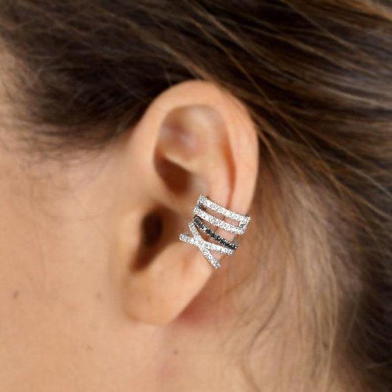 Cross Ear Cuff Double Helix Diamond White Gold Earrings No Pierceing 14k Ea