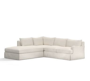 PB Comfort English Arm Right Arm 3-Piece Bumper Sectional Slipcover, Knife Edge, Brushed Canvas Natural