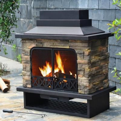 Sunjoy Huntsville 42 In X 24 In Steel Faux Stone Outdoor Fireplace