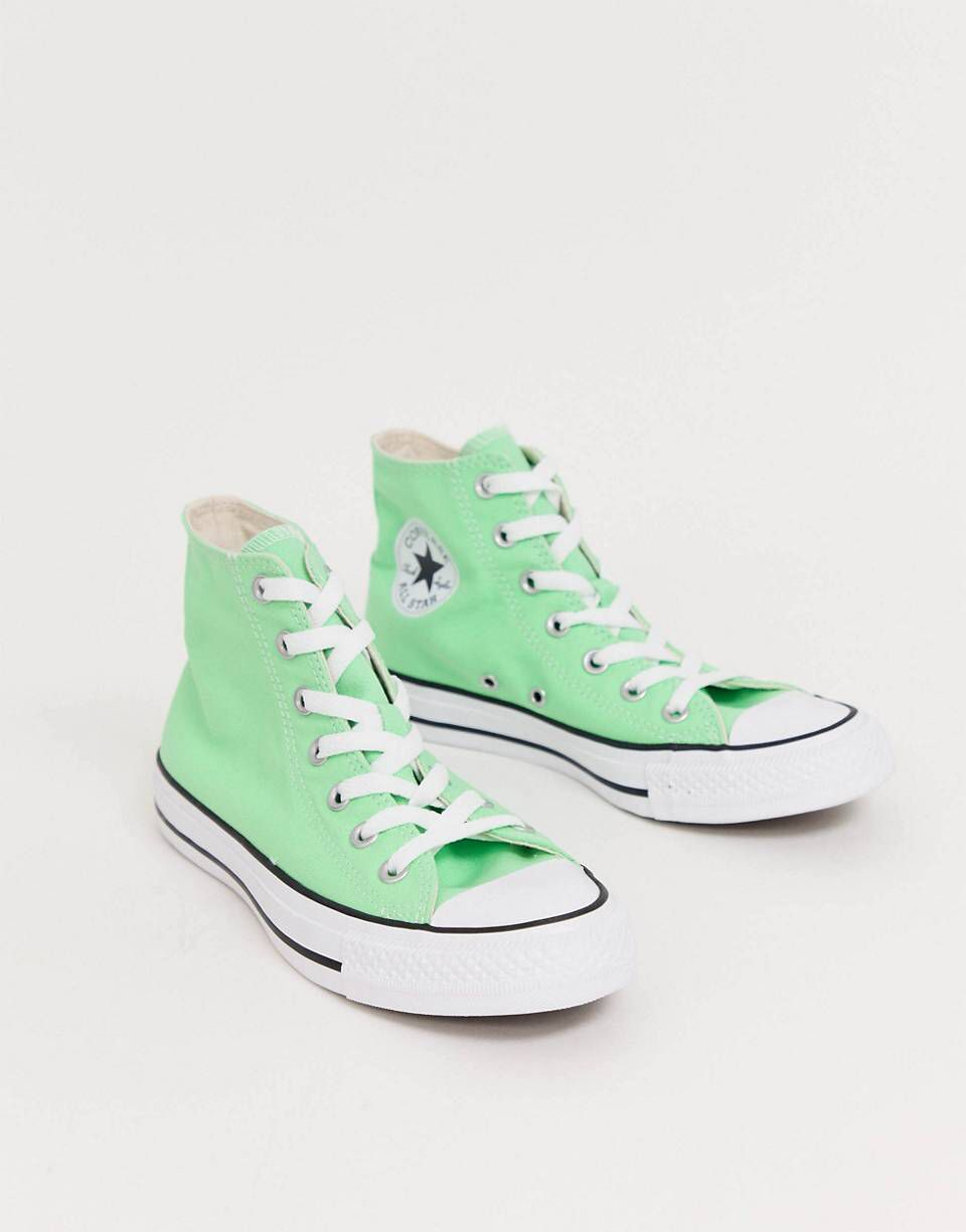 Converse chuck taylor all star hi washed fluro green sneakers