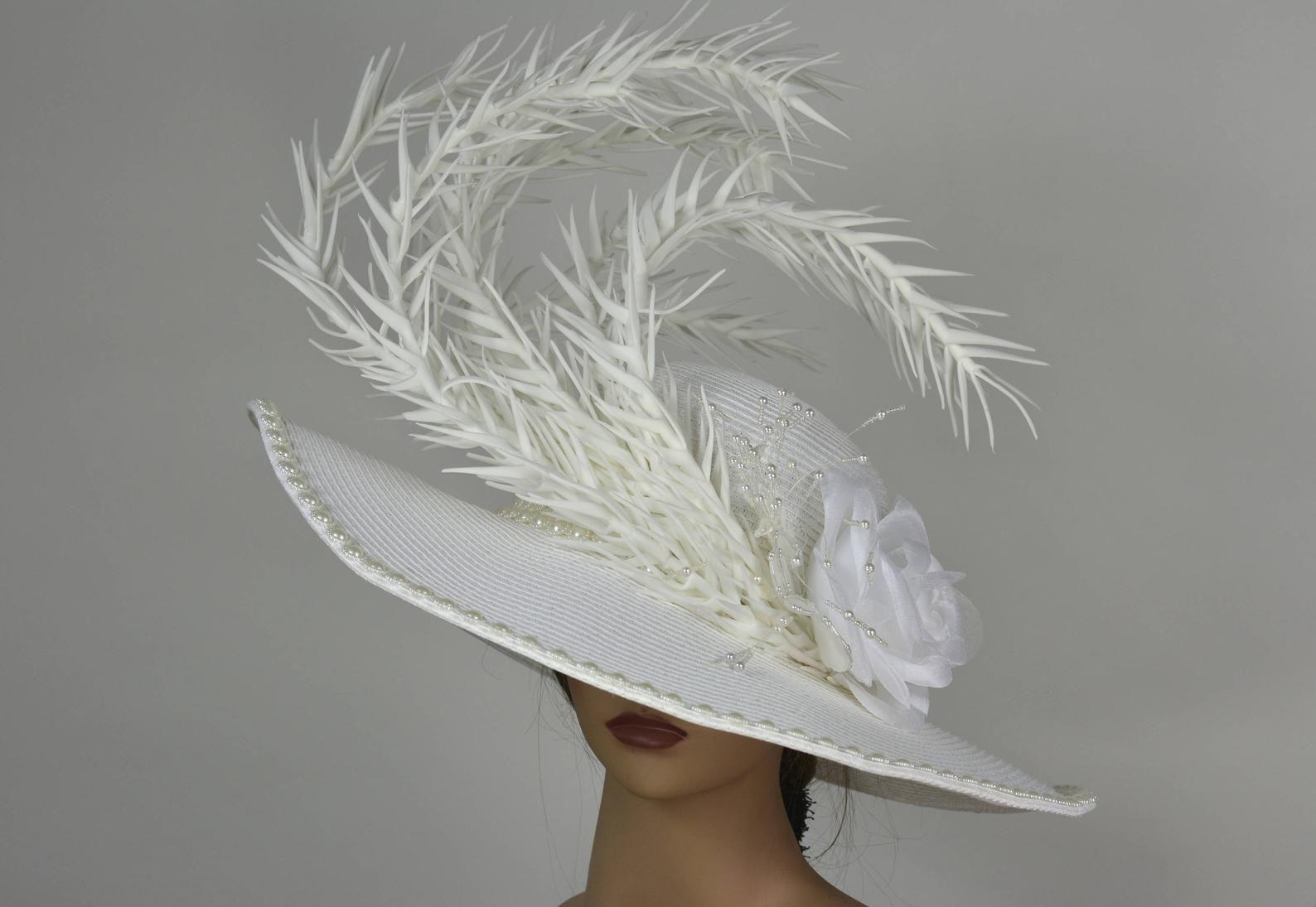 d142c2f8 Off White Church Wedding Hat Head Piece Kentucky Derby Hat White ...