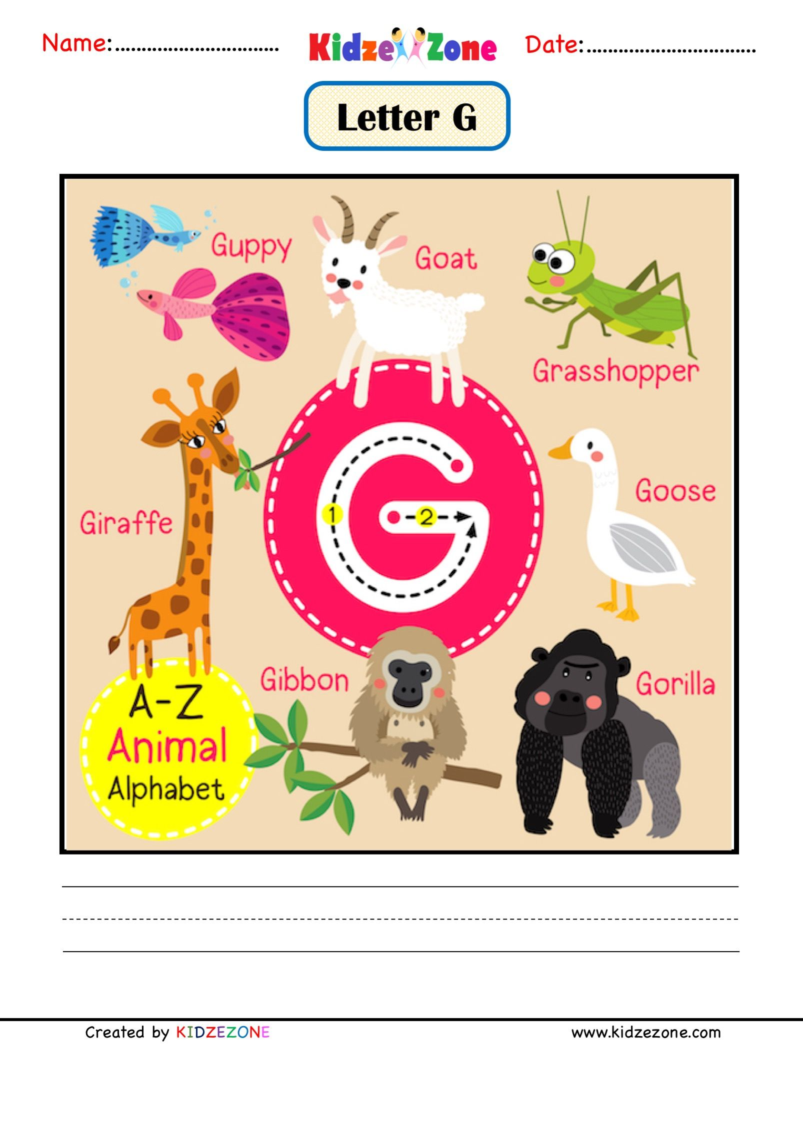Letter G Picture Card In