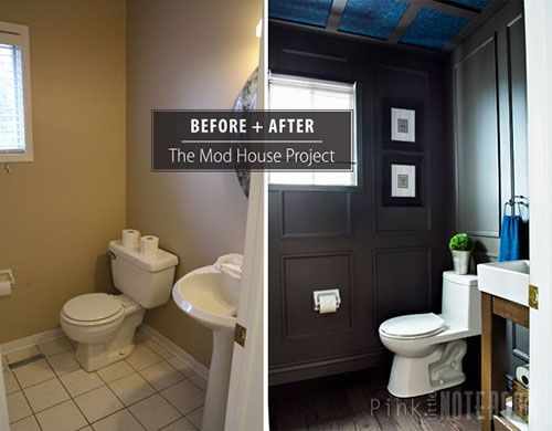 Powder Room Wall Decor reveal: dated powder room gets a moody makeover | powder room
