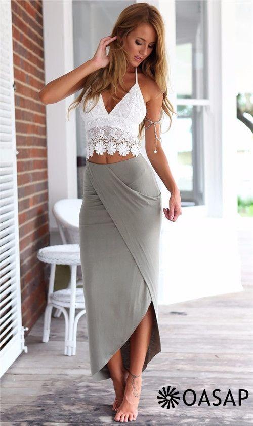 a5b72b7b322 White Lace Crop Top Bodycon Skirt Matching Sets m.OASAP.com