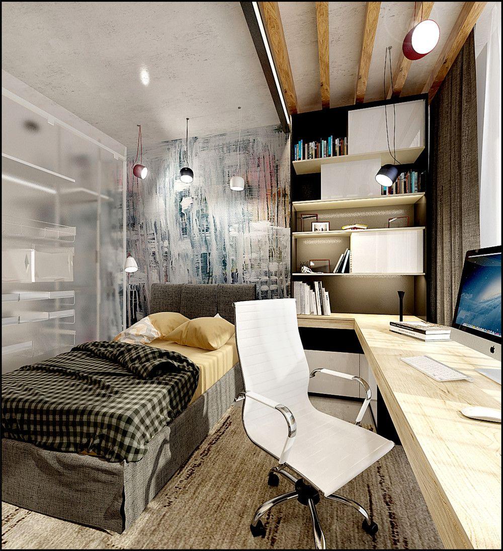 современные спальни дизайн: рабочее место, кровать 3D-проект компактного пространства