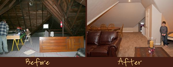 Before After Attic Renovation Remodel Finishing Remodeling And Century Home Family Room Train Table Playroom