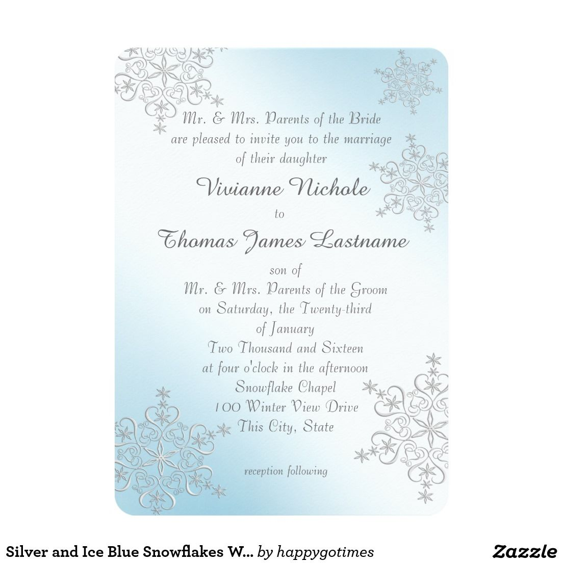 Silver and Ice Blue Snowflakes Wedding Card | Wedding card, Silver ...