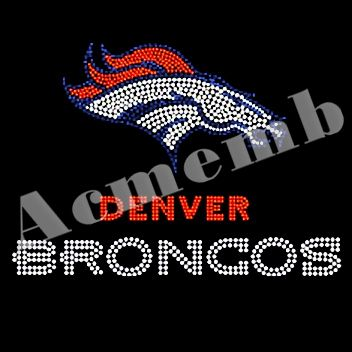 Denver Broncos Rhinestone Heat Transfers Hot Fix Motif For T Shirts