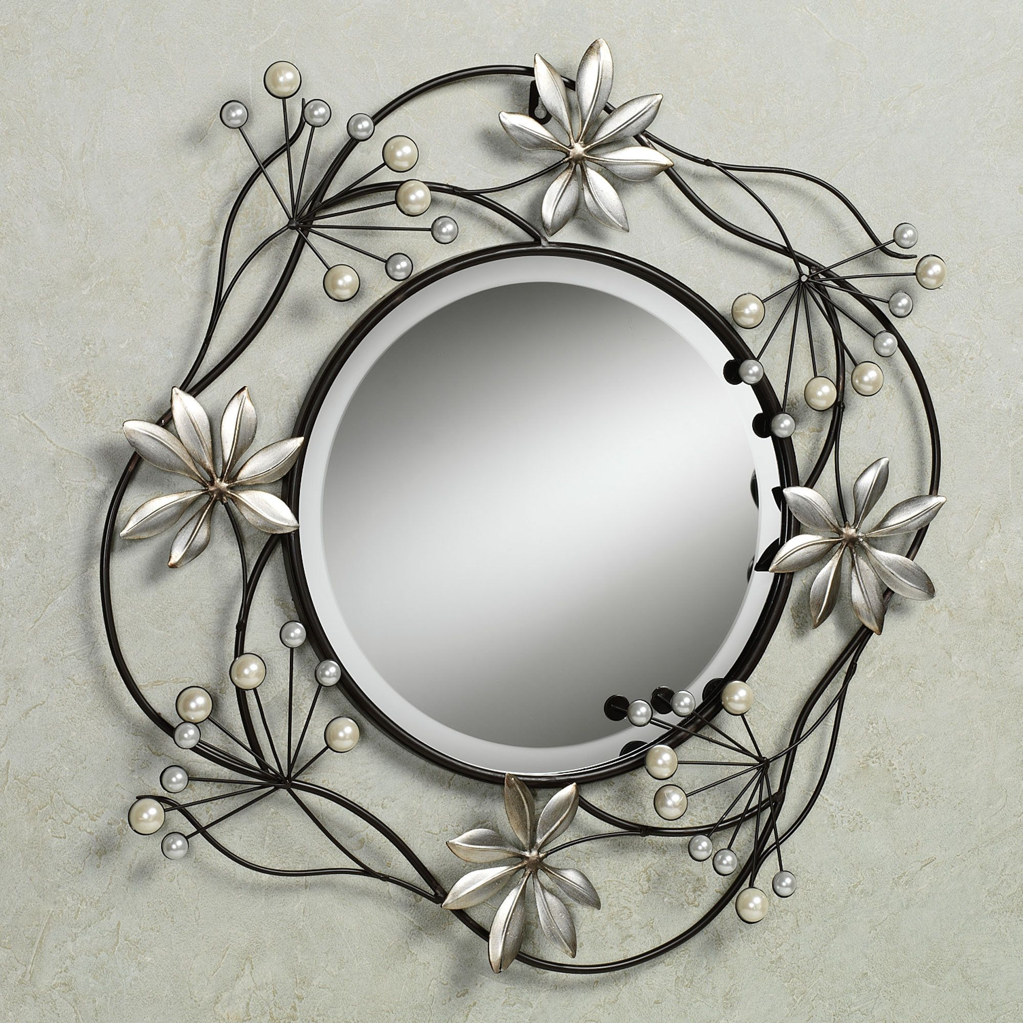 Pearl array round metal wall mirror outdoor decor pinterest