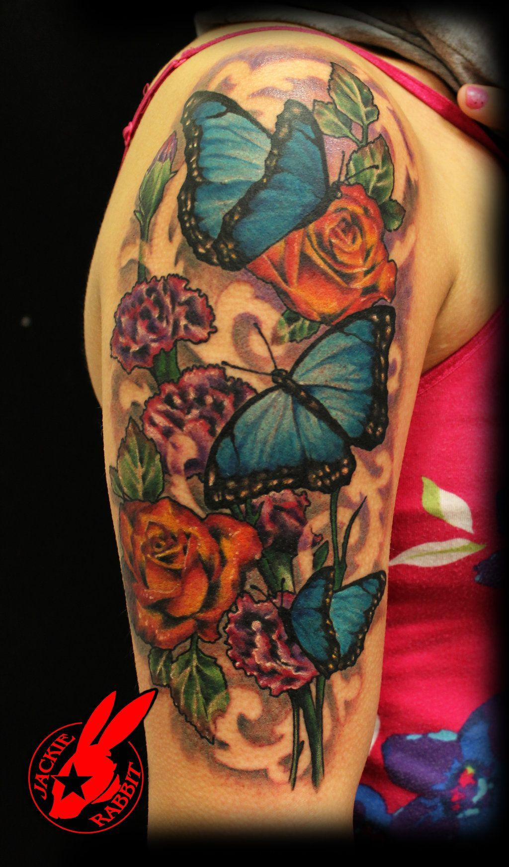 Blue Butterfly Flower Tattoo By Jackie Rabbit Half Sleeve Tattoo Butterfly Sleeve Tattoo Sleeve Tattoos