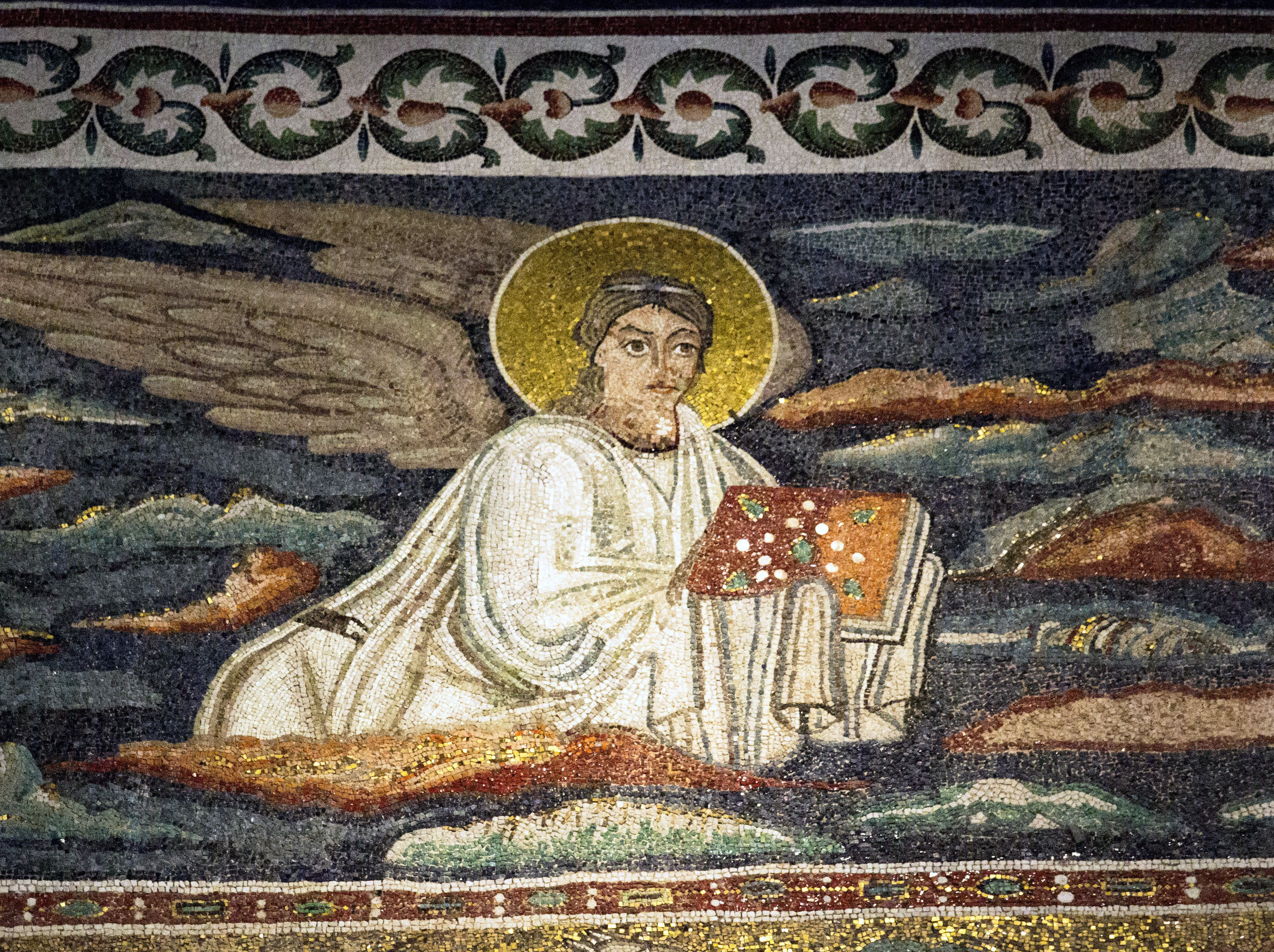 Basilica di santapollinare in classe il mosaico del registro mosaic winged man or angel symbol of matthew the evangelist apse biocorpaavc Choice Image