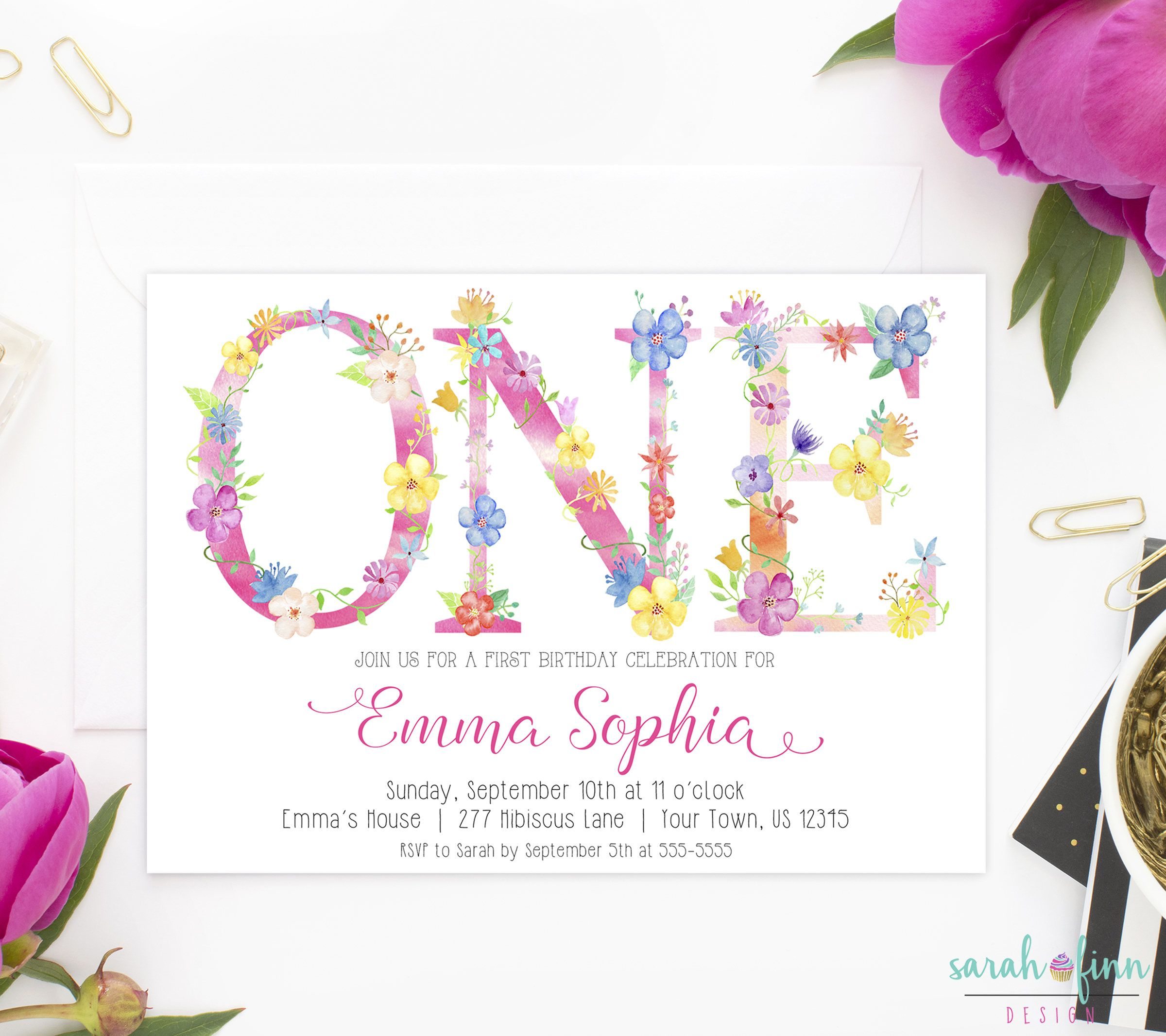 ONE St Birthday Invitation Tropical Party Floral Letters Girl - Letters of birthday invitation