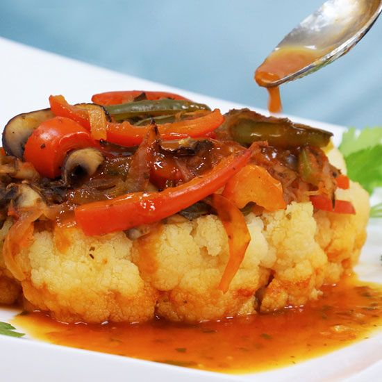 Cauliflower steaks recipe with sweet pepper sauce food matters cauliflower steaks recipe with sweet pepper sauce food matters forumfinder Images