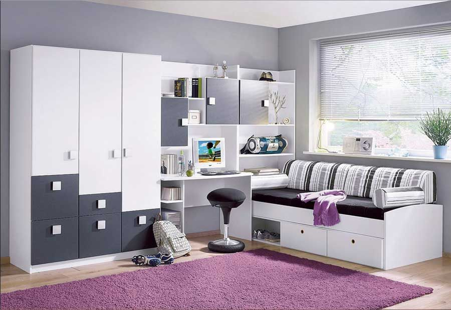 jugendzimmer f r jungs komplett mit wei anthrazit schlafm bel als bett inklusive bettkasten. Black Bedroom Furniture Sets. Home Design Ideas