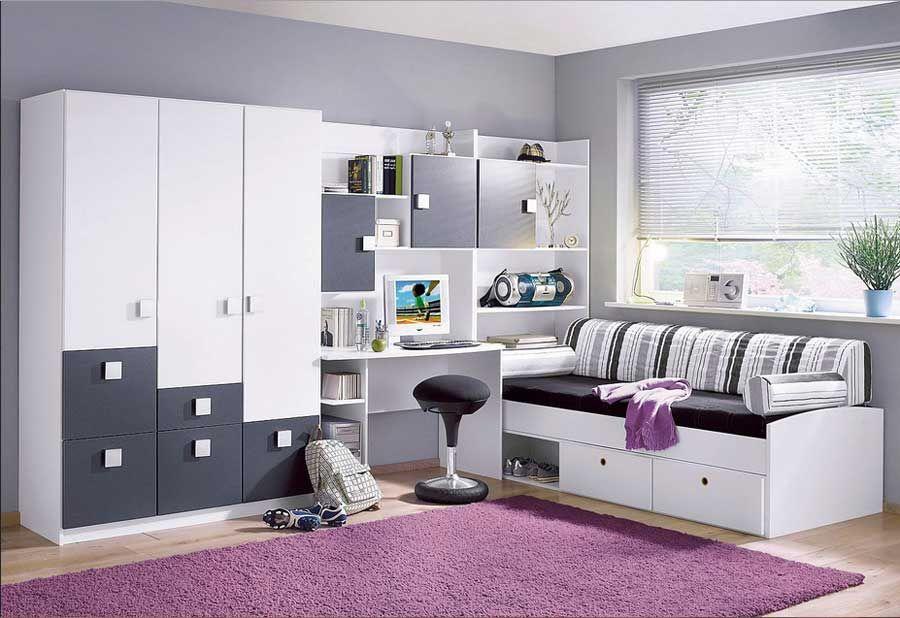 jugendzimmer für jungs komplett mit weiß-anthrazit schlafmöbel als ... - Einrichtungsidee Jugendzimmer Komplett