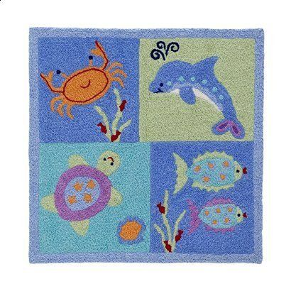"Amazon.com: Tiddliwinks Under the Sea Rug - 30x30"" ~Dolphin ~ Crab ~Fish ~Turtle: Home & Kitchen"