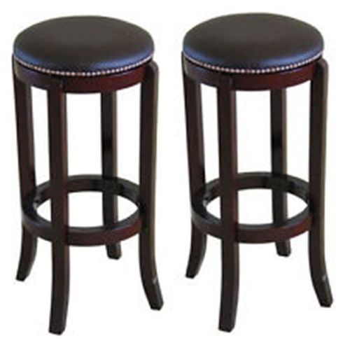 Set Of 2 Polished Cherry Wood Brown Leather Modern Bar Stools