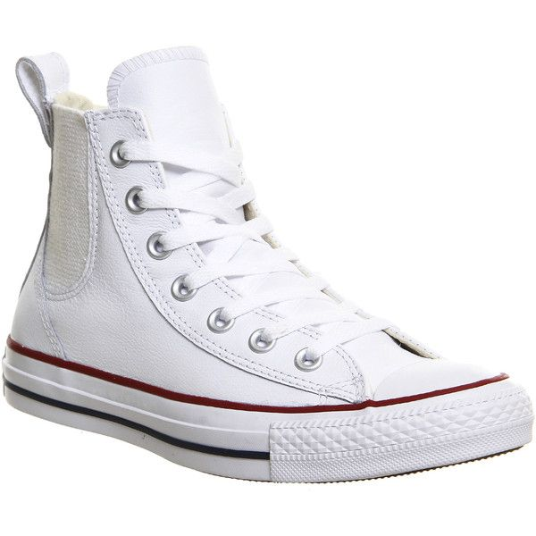 Converse All Star Chelsee ($90) ❤ liked on Polyvore featuring shoes, sneakers, hers trainers, trainers, white cloud cream white, converse shoes, white hi tops, white high top shoes, white high tops and elastic shoes #whiteallstars