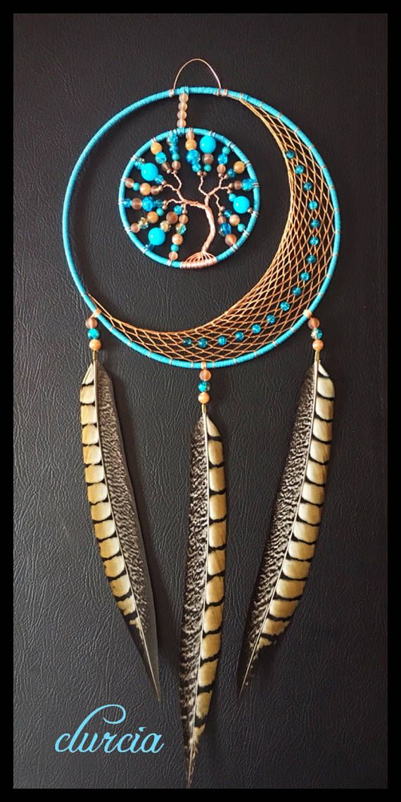 moon and tree of life turquoise and brown dream catcher attrape r ves macram tissage. Black Bedroom Furniture Sets. Home Design Ideas