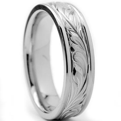 Trendy Oliveti Titanium Men us Engraved Floral Design Ring mm Size Silver