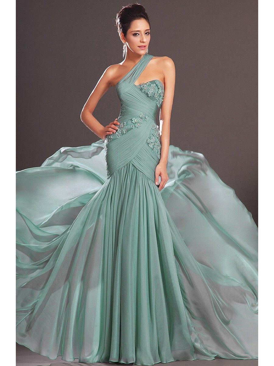Trumpet/Mermaid One-Shoulder Sleeveless Sweep/Brush Train Chiffon ...