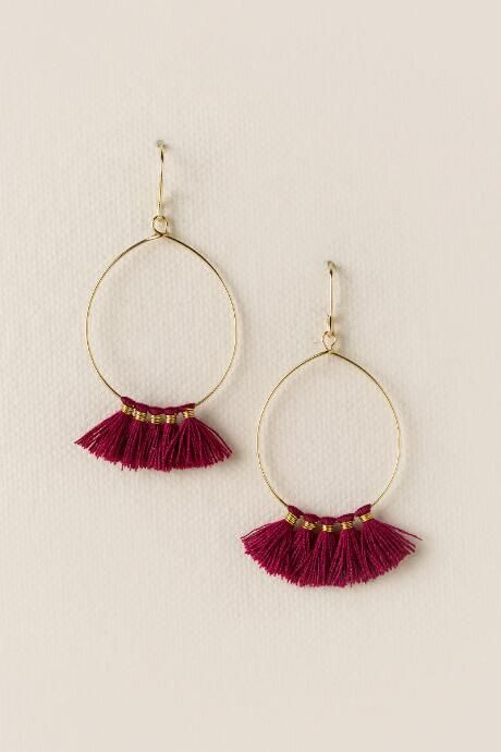 Carson Mini Tassel Hoop Earring 16 00 Orange And Maroon