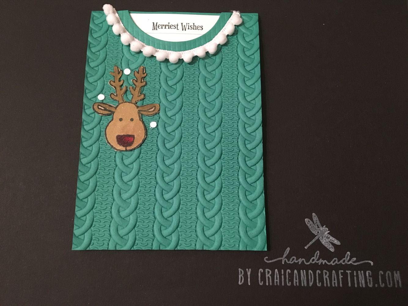 Beautiful 'cable knit' card, inspired by Fiona Whitten. I just love this embossing folder.