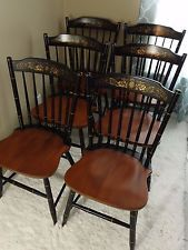 Set Of 6 Hitchcock Maple Classic Baltic 4709 Dining Side Chairs