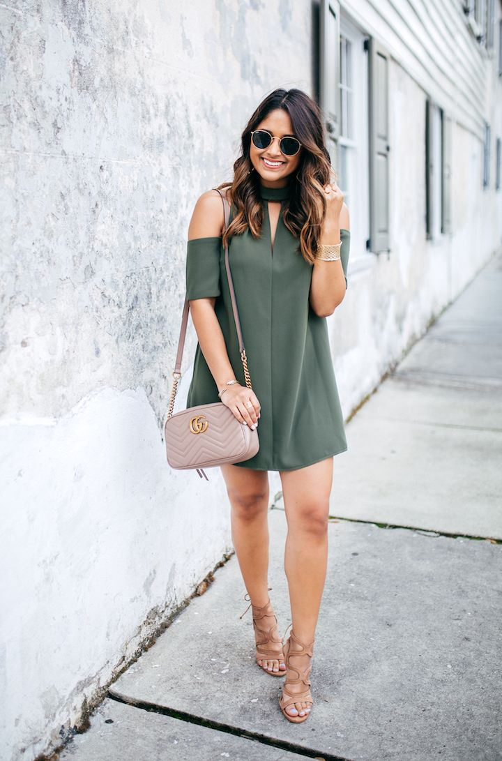 21d5f9cfdcb Olive Cold Shoulder Dress
