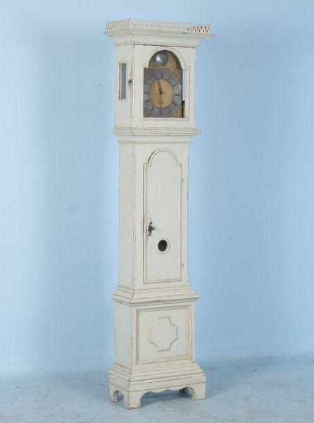 Antique Beautiful White Swedish Grandfather Clock C 1780 Grandfather Clock Clock Painting Scandinavian Clocks
