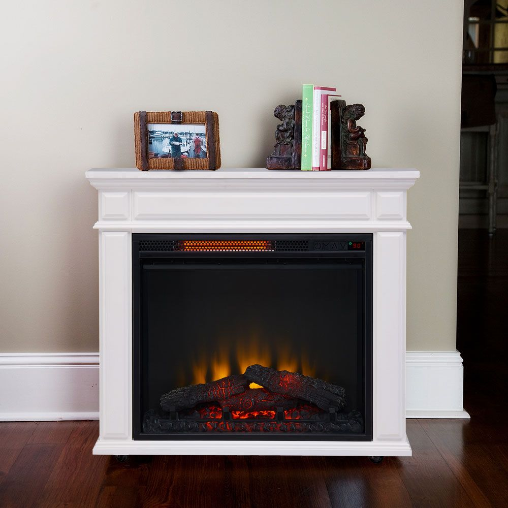 Caiden Infrared Electric Fireplace Heater in White CSIRMWHT