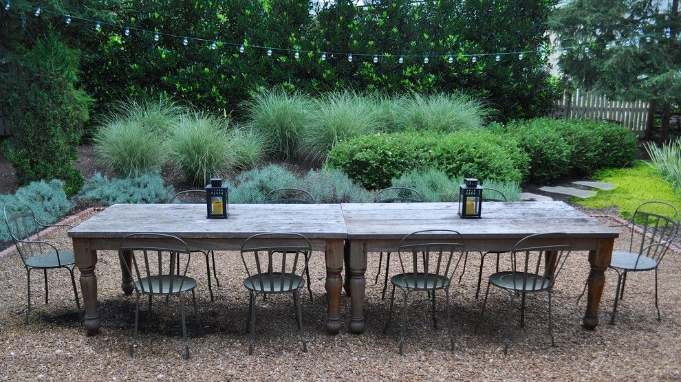 Outdoor Table Legs Patio Rustic With Chair Fence Gravel Gravel Patio Garden Design Rustic Outdoor Rustic Patio