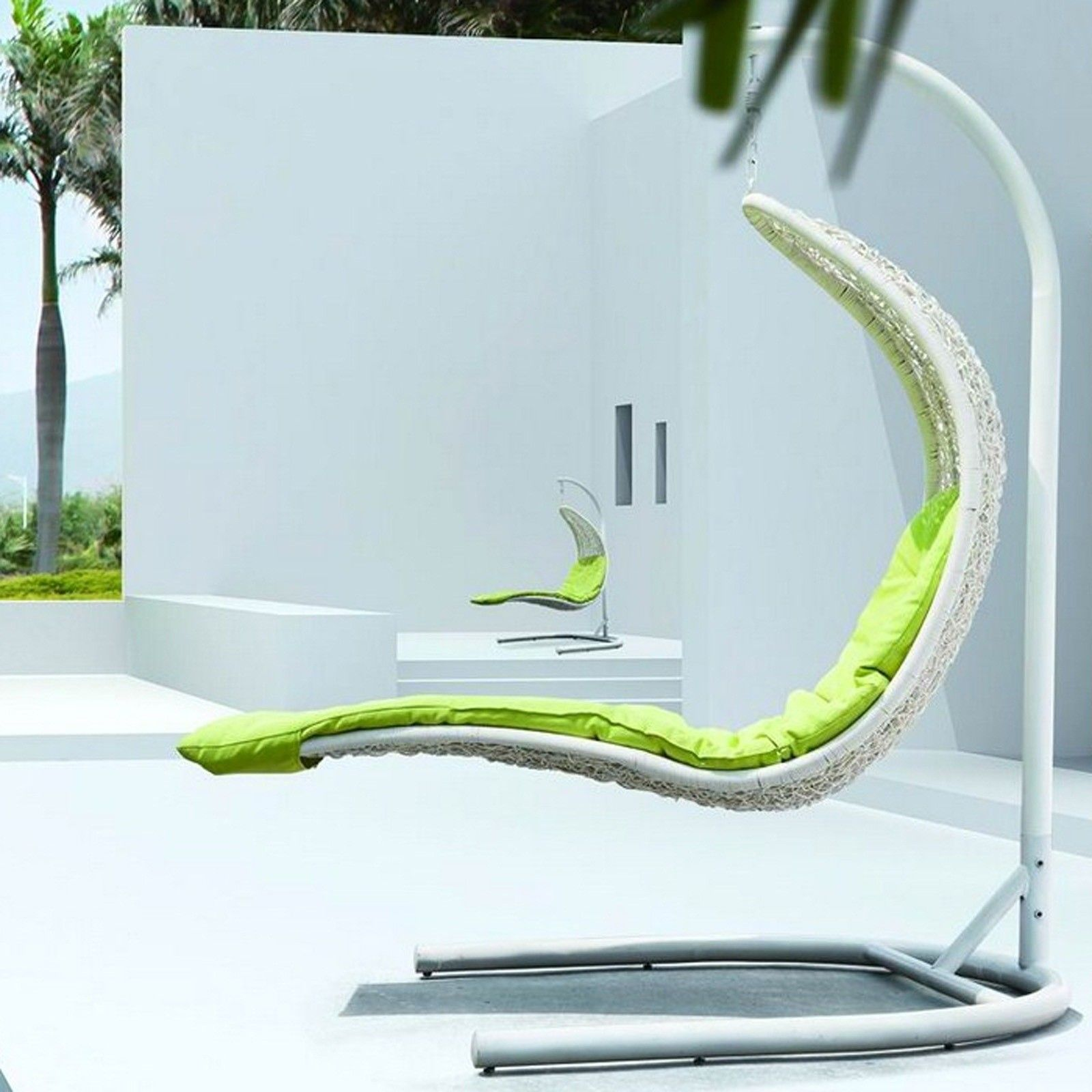 Province outdoor patio hanging chaise lounger with stand patio