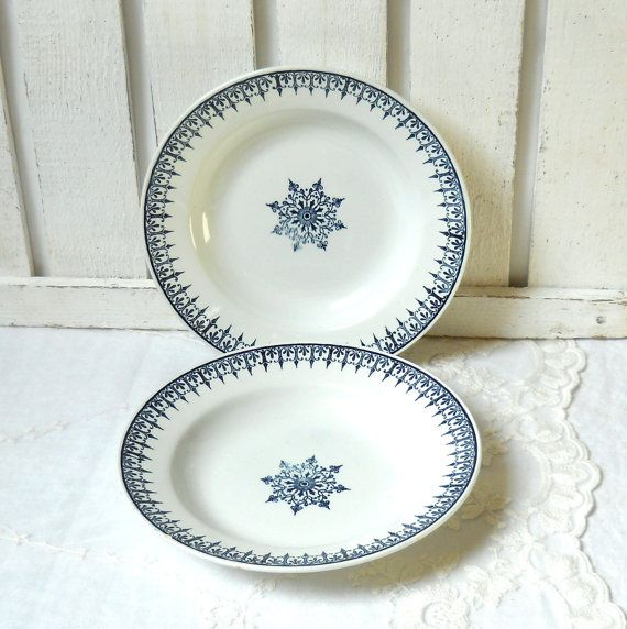2 vintage French plates antique french soup by minoucbrocante u20ac16.50 & 2 vintage French plates antique french soup plates blue french ...
