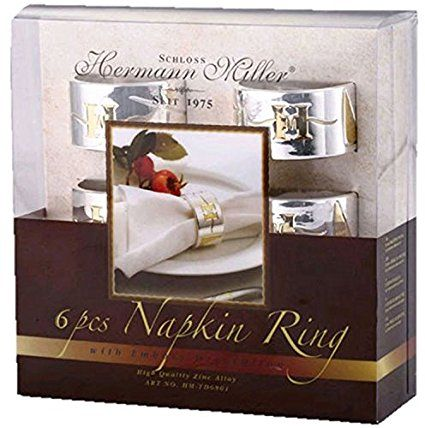 Hermann Miller Set of 6 silver napkin rings serviette rings GIFT BOXED by Hermann Miller: Amazon.it: Casa e cucina