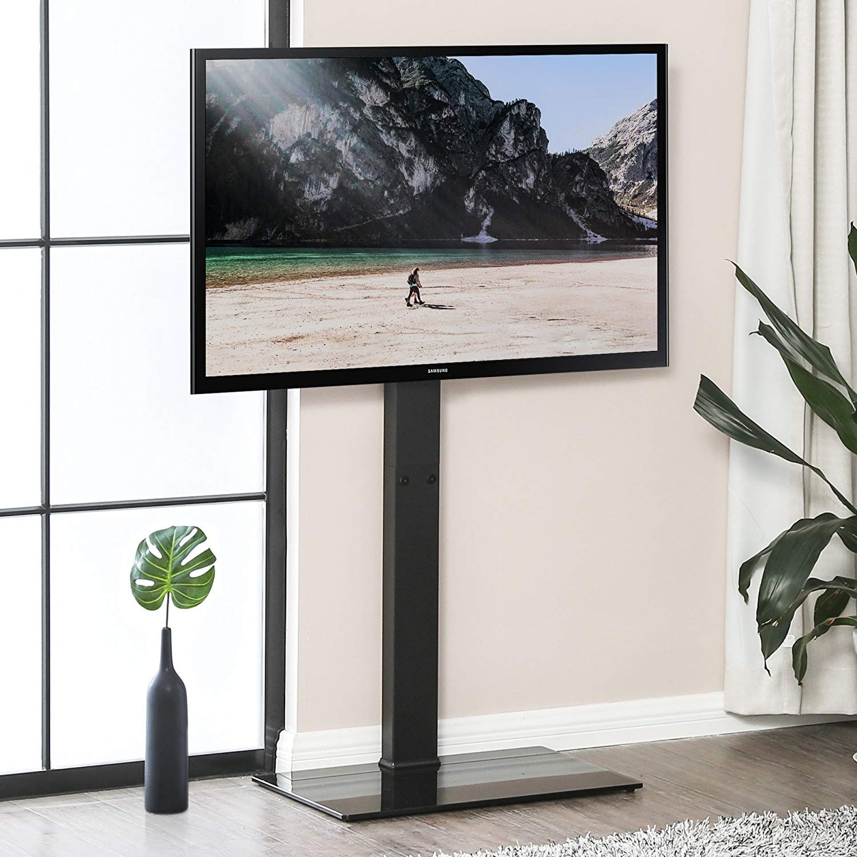Fitueyes Meuble Tv Avec Support Pied Tele Pivotant Cantilever Pour Ecran De 32 A 65 Pouce Led Lcd Plasma Tt10750 Meuble Support Tv Meuble Tv Pivotant Pied Tele