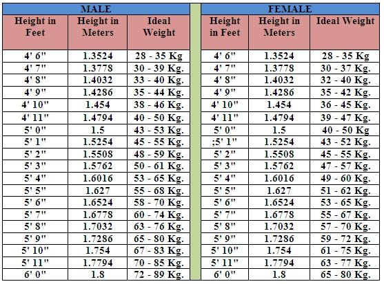 Pin By Mais Hammad On Health Weight Charts Height To Weight Chart