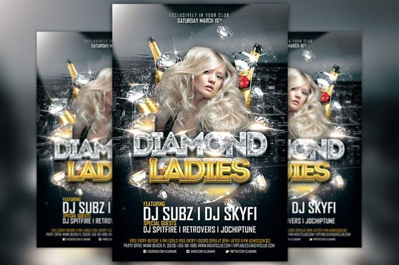 Diamond Ladies Club Flyer Template by Flyermind on Creative Market - ufc flyer template
