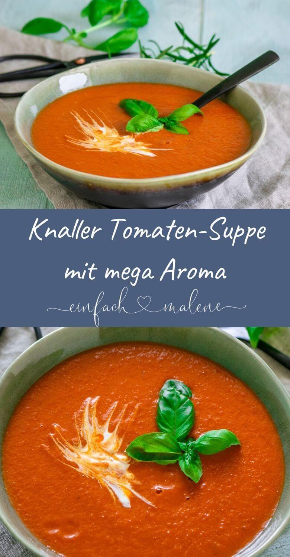 Super einfach & aromatisch - Tomatensuppe mit gerösteten Ofentomaten - Bist du auch ein riesen Tomatenfan? Dann solltest du dieses super einfache Rezept für die beste Tomatensuppe alter Zeiten unbedingt ausprobieren! Super lecker! #recipesforshrimp