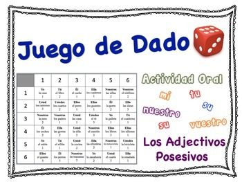 Spanish Possessive Adjectives Speaking Activity for Small Groups ...