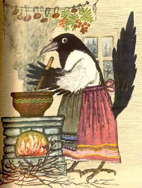 illustration russe jeunesse yuri a vasnetsov cuisine corbeau soupe oiseau folklorique. Black Bedroom Furniture Sets. Home Design Ideas