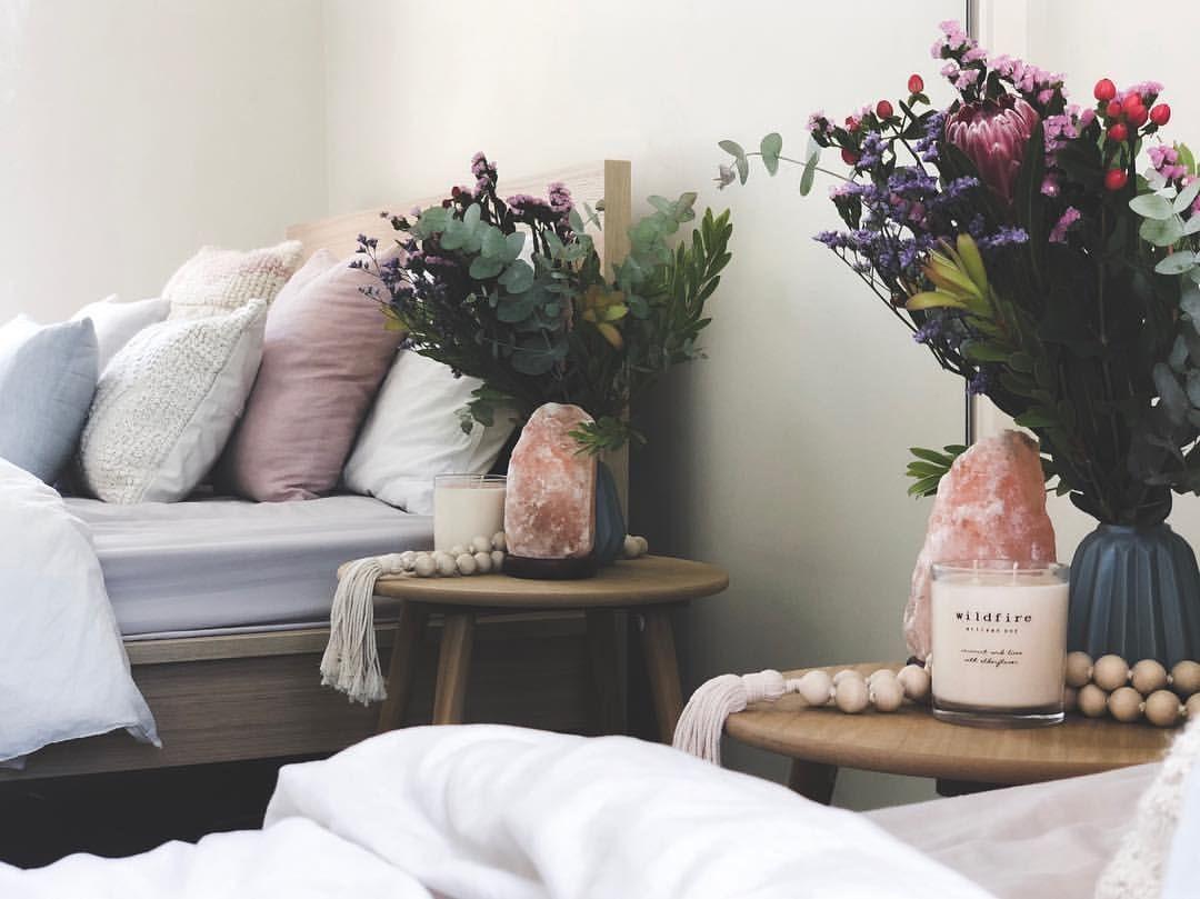 Bedroom Pastel Tones Native Flowers Candle Salt Lamp Boho