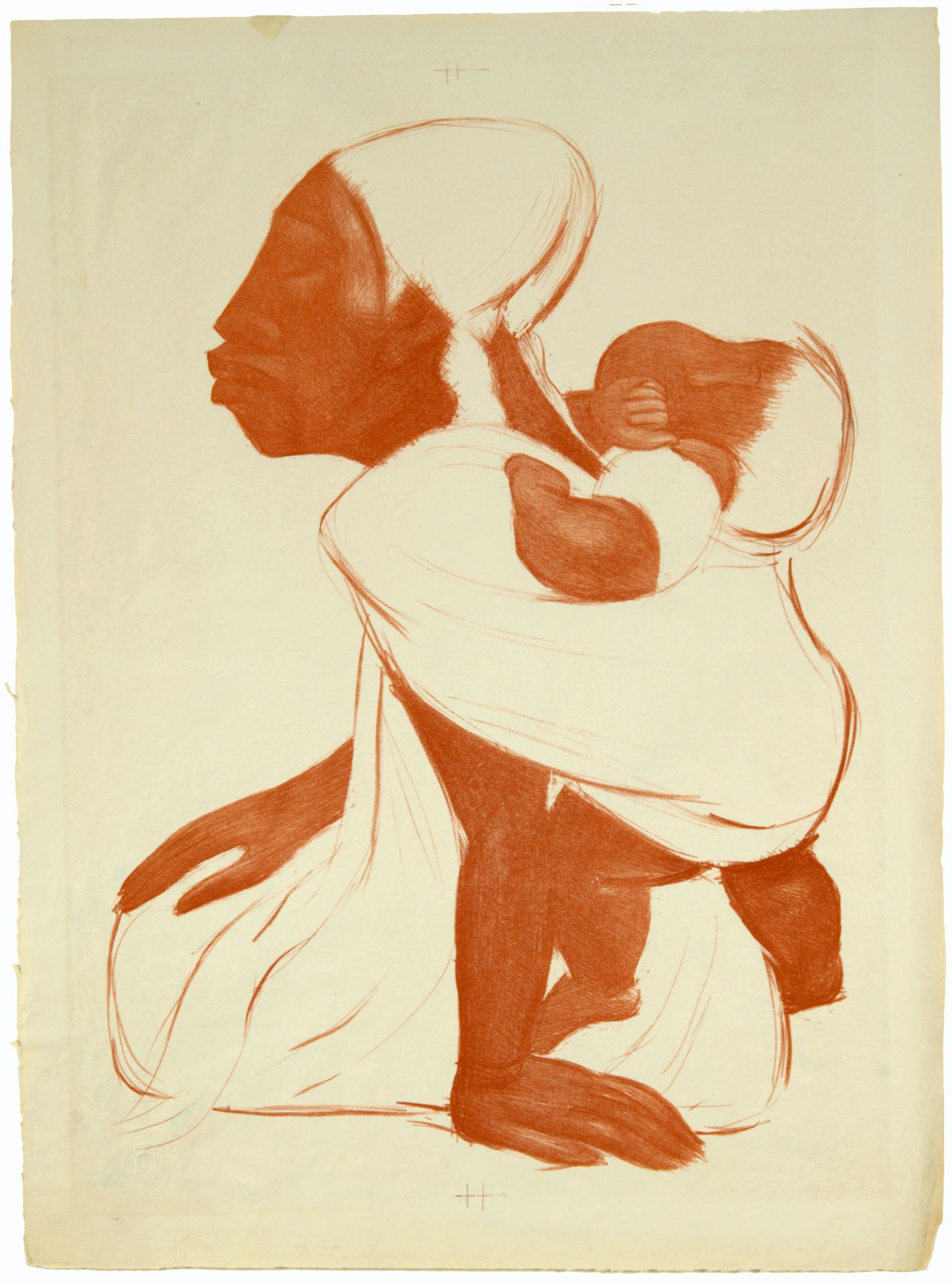 Jean Charlot, Mother with Child on Back, 1933. Lithograph. Gift of Mr. and Mrs. Jack Lord.