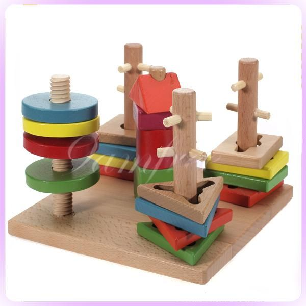 NEW childs Preschool wooden Educational toy COLUMN SHAPES STACKING BLOCKS toys