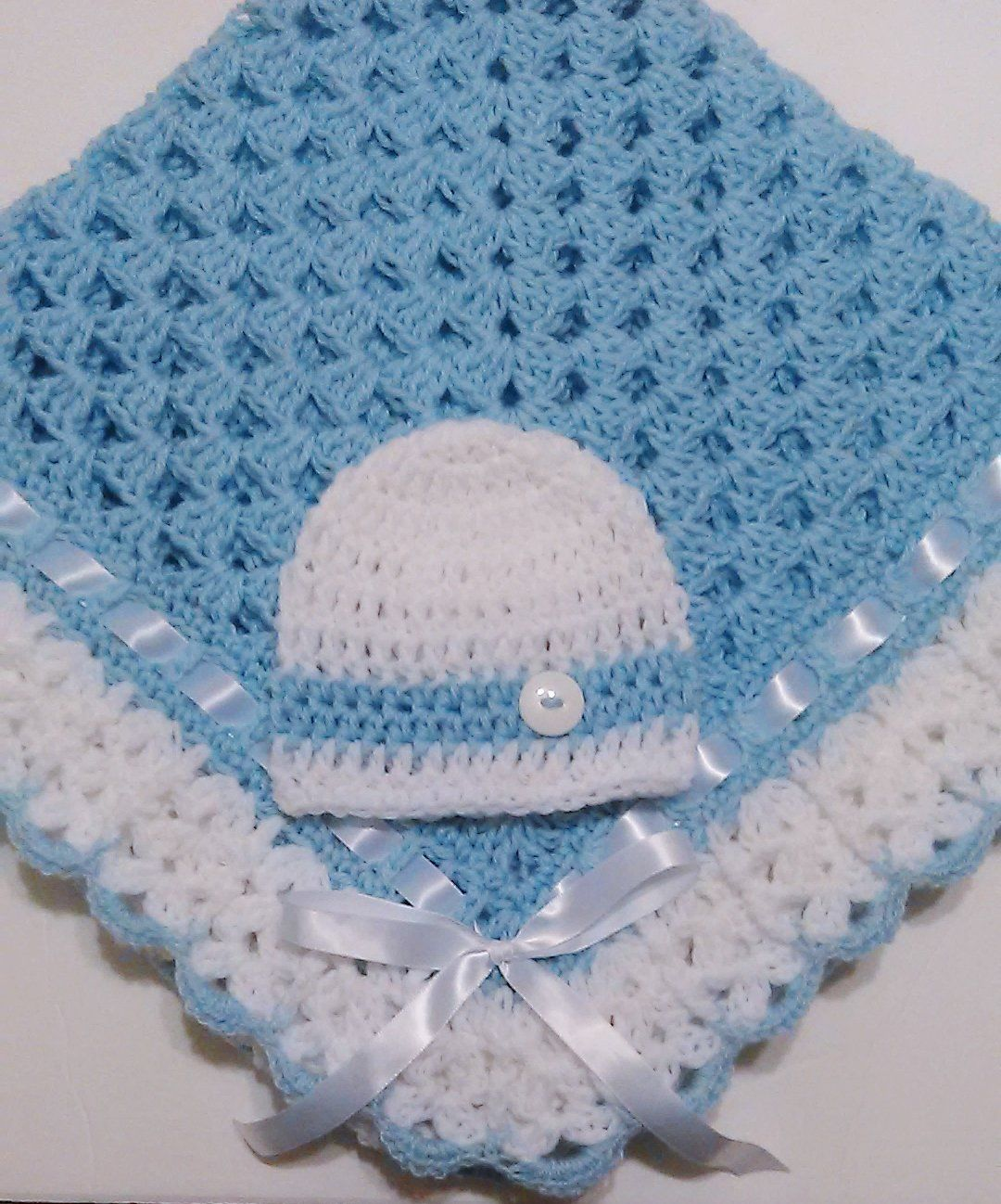 Crochet+Baby+Blanket+Set,+Baby+Beanie+Hat,Baby+Blue+and+White,+Baby+ ...